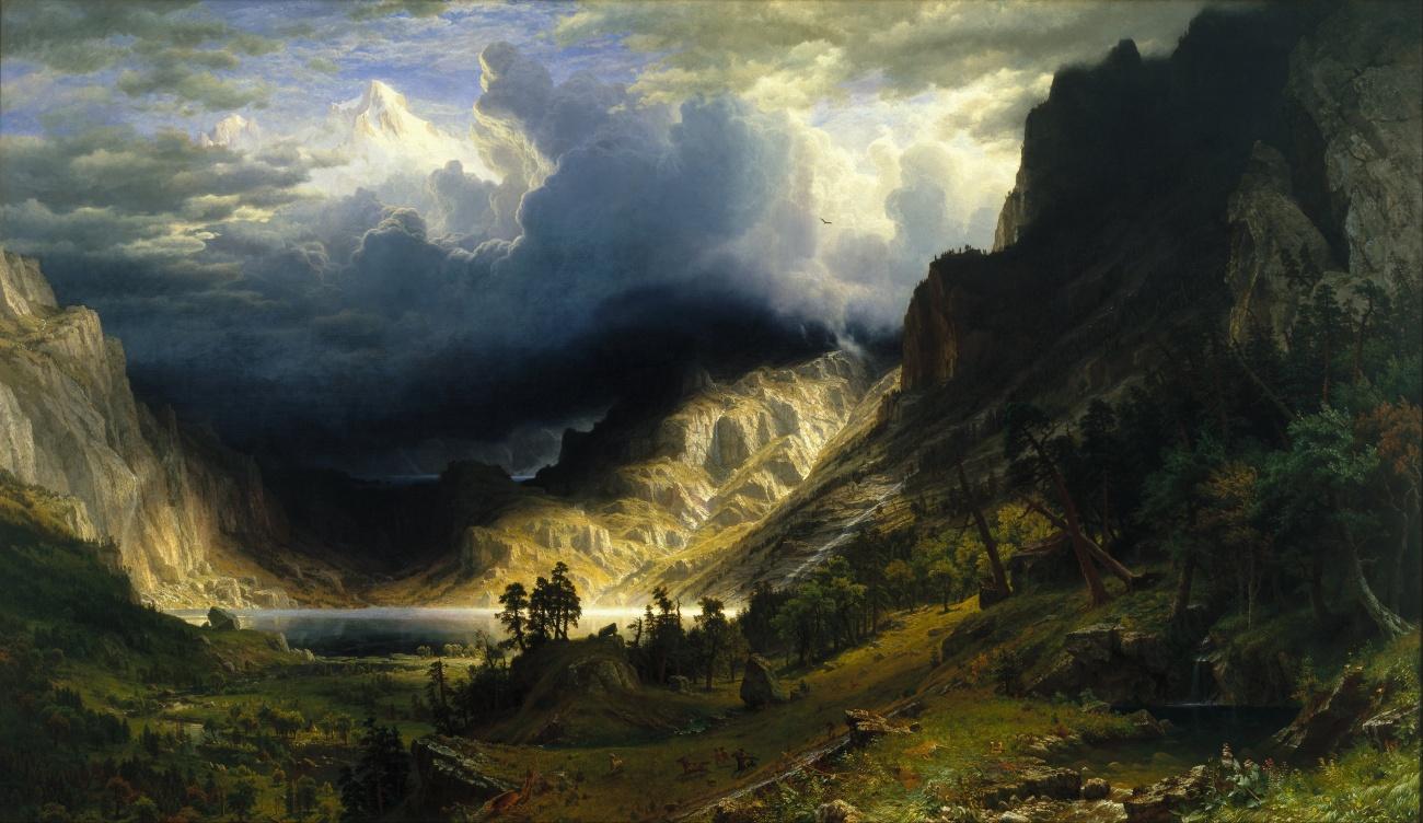 A Storm in the Rocky Mountains, Mount Rosalie. By Albert Bierstadt.