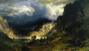 A Storm in the Rocky Mountains, Mount Rosalie. By Albert Bierstadt.