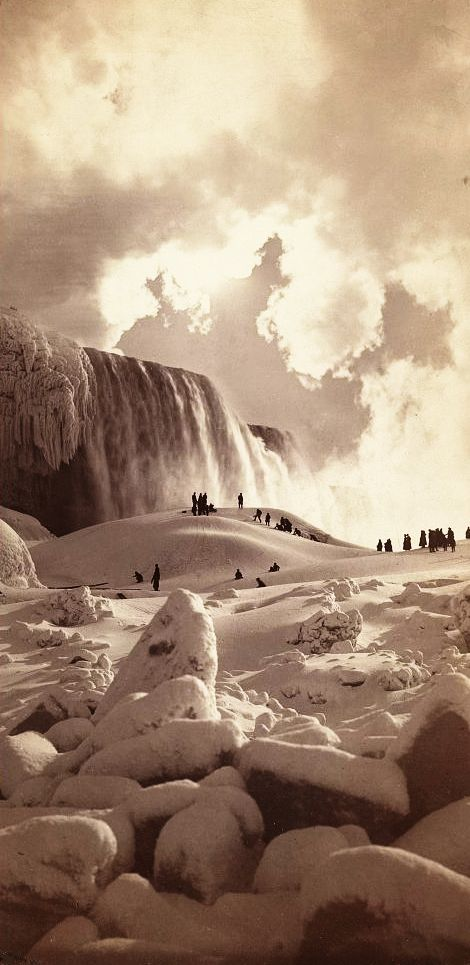 George Barker_c.1883_People on snow-covered ice at the base of the frozen American Falls, Niagara Falls, New York_11768v_T