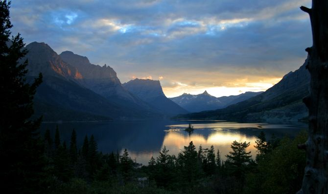 Sunset in Glacier National Park, Montana.