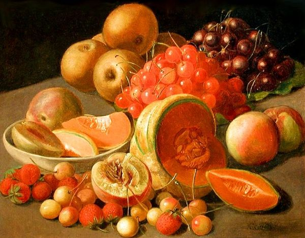 Still-life with fruits. By Leopold von Stoll [Public domain].