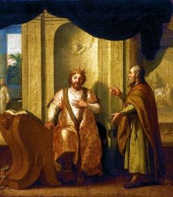 Nathan advises King David. By Matthias Scheits.