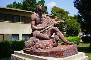 David Playing the Harp, by sculptor David Polus, Kibbutz Ramat-David, Israel.