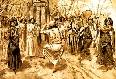David danced before the LORD with all his might; and David was girded with a linen ephod, (as in 2 Samuel 6:14). By James Tissot.