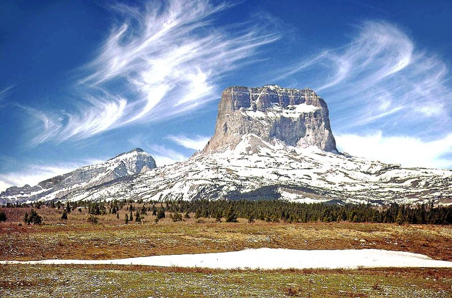 Chief Mountain with spring snow, Glacier National Park, Montana.