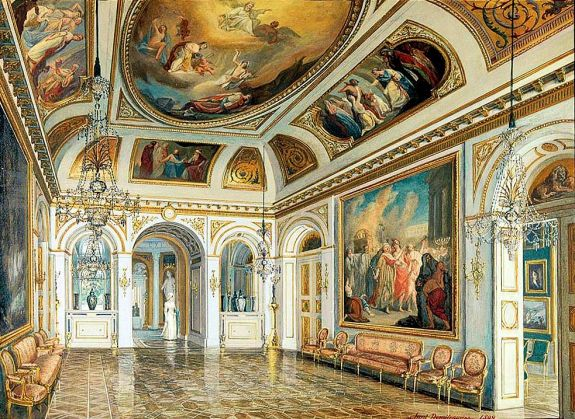"""Historical depiction: Solomon Room in the Palace on the Water in Warsaw. By Ludomir Dymitrowicz (circa, 1892) of a room in the Łazienki Palace, Warsaw). The paintings by Marcello Bacciarelli (circa. 1791 – 1793) no longer exist. The Nazis burned all 6 paintings of """"The History of Solomon"""" in a bonfire in front of the palace in 1944."""