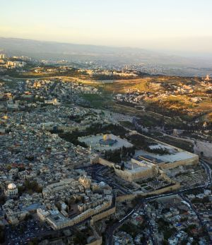 Aerial View of the Temple Mount, Jerusalem.