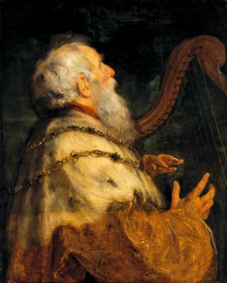 King David playing the harp (1640). (By workshop of Peter Paul Rubens