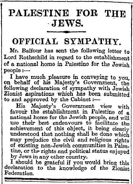 Balfour Declaration, The London Times, November 9, 1917.