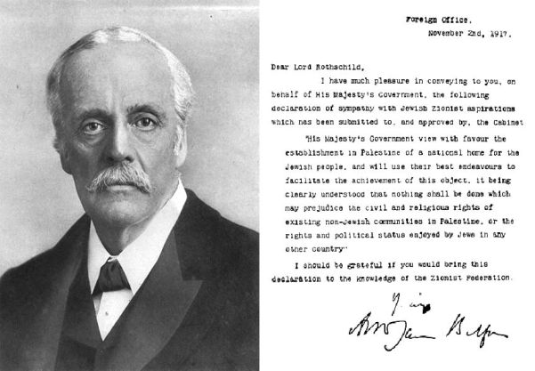 Portrait of Lord Balfour, along with his famous declaration.