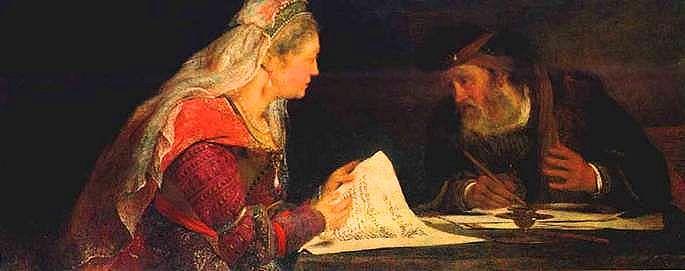Esther and Mordechai conferring.