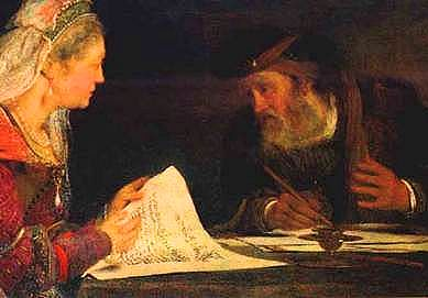 Detail: Esther and Mordechai writing the second letter of Purim.
