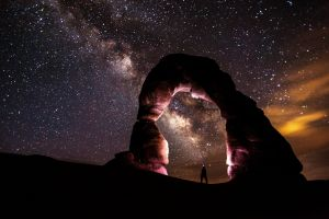 Under the awesome night sky, Arches National Park, Utah.