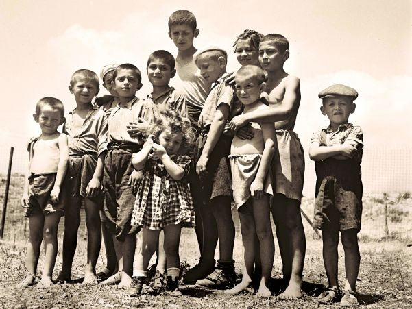 A group of orphans—survivors of the holocaust, at the reception camp in Atlit, July14, 1944.