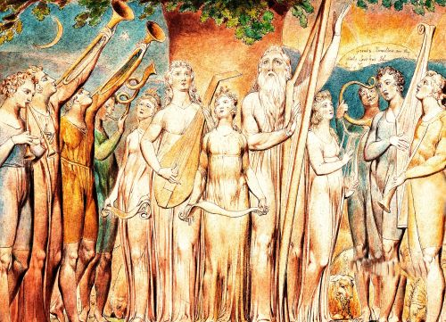 Detail: Job Restored to Prosperity. By William Blake.