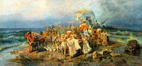 Moses leads the nation of Israel across Yam Suph (Red Sea).