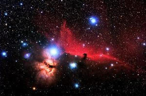 Flame Nebula (designated as NGC 2024 and Sh2-277 / Horsehead Nebula).