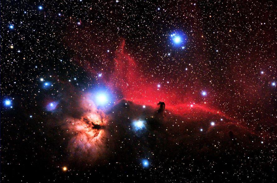 Flame Nebula (designated as NGC 2024 and Sh2-277 / Horsehead Nebula).