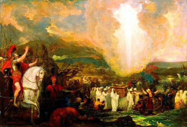 Joshua crossing the River Jordan with the Ark of the Covenant. By Benjamin West.