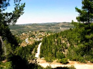Springtime view of Even Sapir, a moshav on the outskirts of Jerusalem, Israel.
