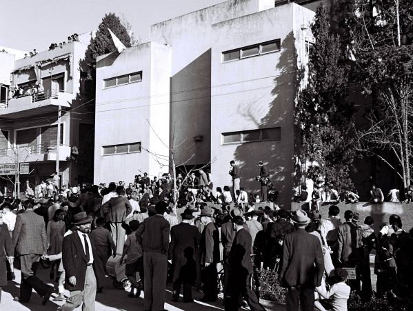 Crowd waiting outside the Tel Aviv Museum, where the declaration of Israel's independence was read by David Ben-Gurion.