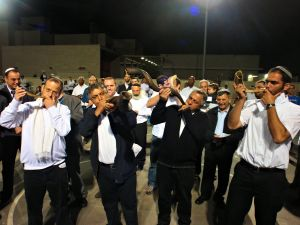 Blowing the Shofar on Israel Independence Day in Yokneam Illit, April 25, 2012.