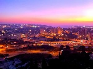 Jerusalem landscape at sunset.