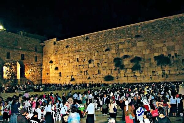 Night time prayers at the Western Wall.