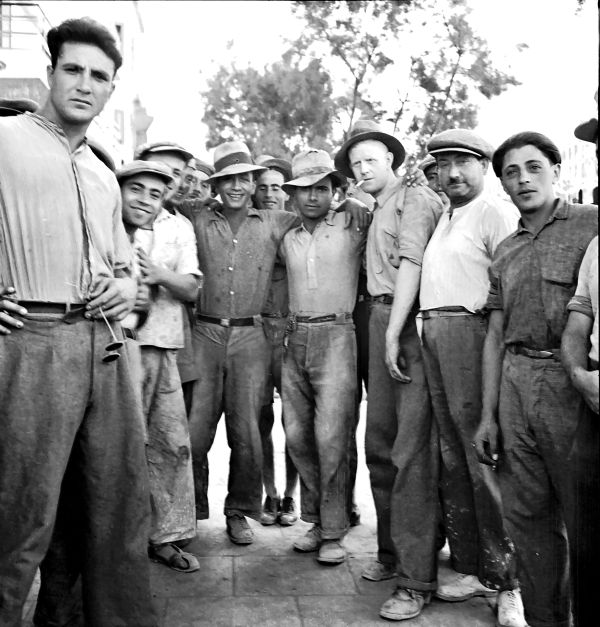 Halutzim (Pioneers), in Tel Aviv, circa 1934.