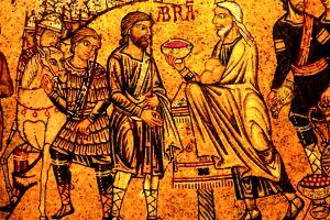 Abram meets Melchizedek. By anonymous master, Basilica di San Marco.