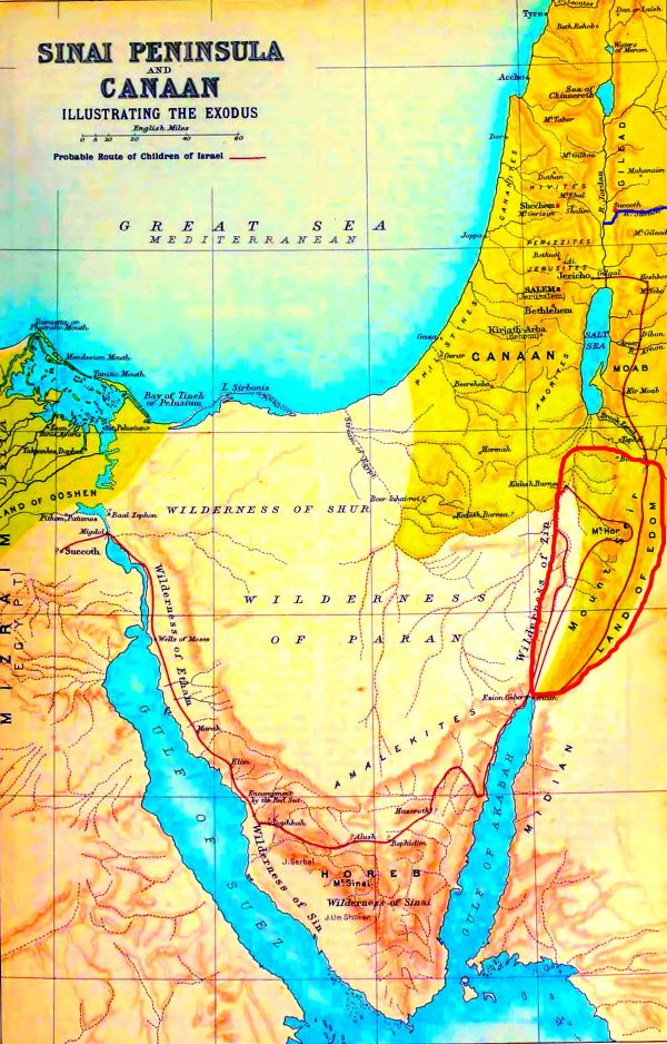 Sinai Peninsula and the Land of Canaan. Note that the Land of Edom is circled in red; Shechem and Succoth are marked with red dots; the Jabbok River is highlighted with dark blue.