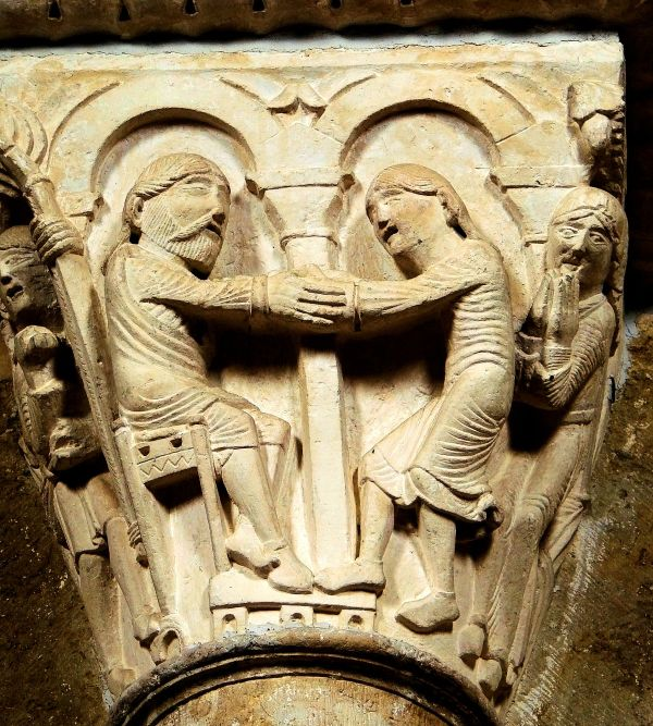 Abraham twice blesses Jacob before sending him to Padan Aram, (circa. Second half of the 12th century), Capital of the nave of Vézelay Abbey.