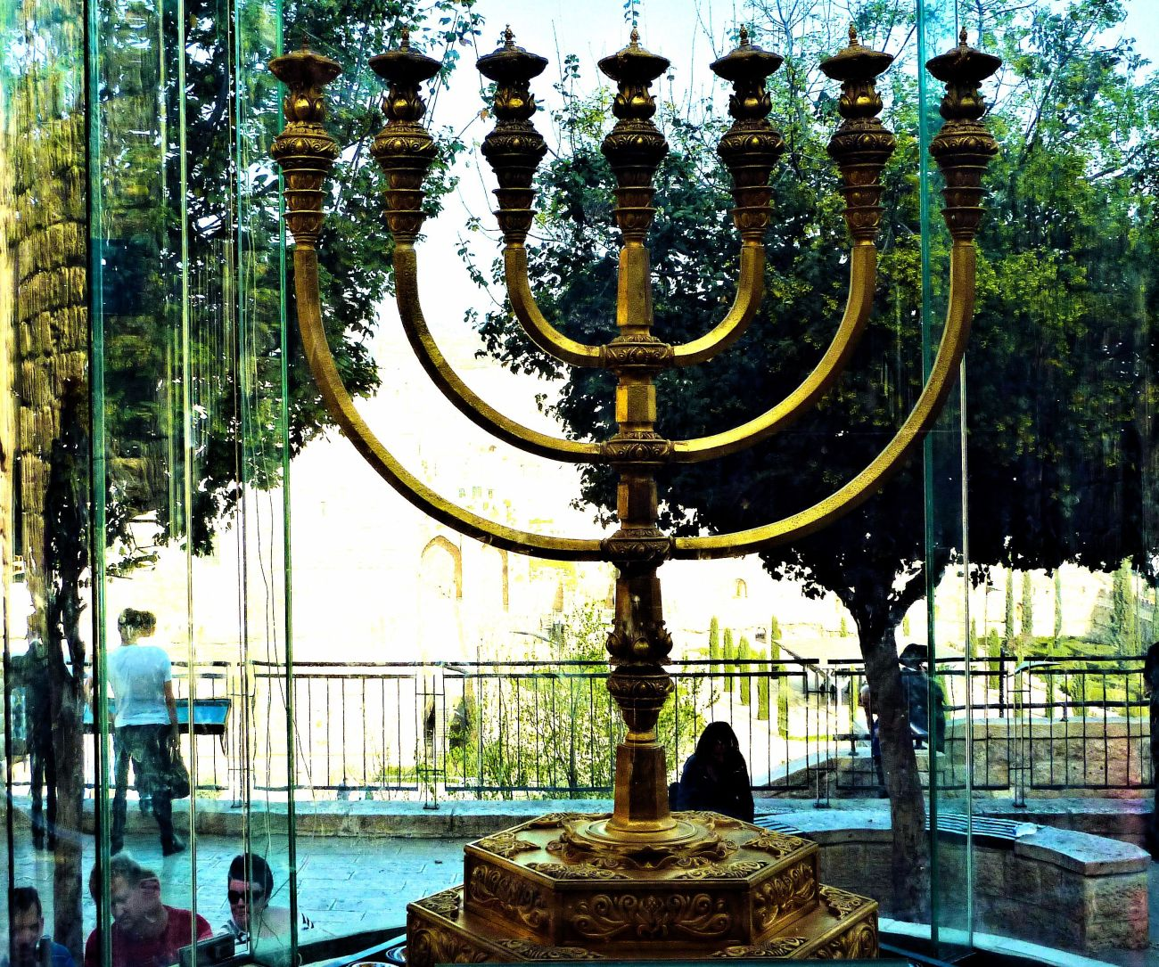 The Gold Menorah replica on display in Jerusalem on the square in front of the Kotel (Western Wall Plaza); intended for future use.