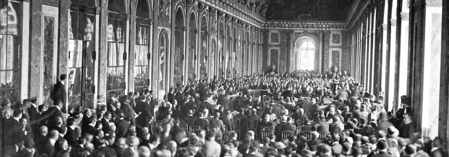 Interior of the Palace des Glaces during the signing of the Peace Terms. Versailles, France on June 28, 1919_banner