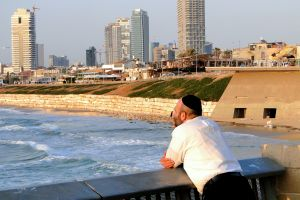 Man Looks Out over Tel Aviv Seashore - Yafo (Jaffa), Israel.