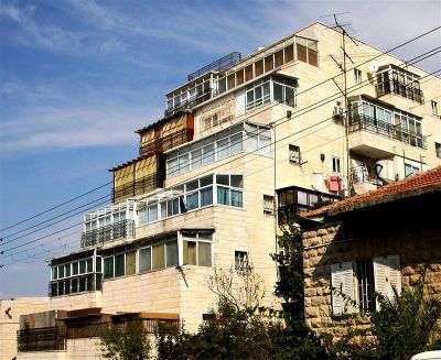 Terraced apartments with sukkah on the balconies in Jerusalem, Israel.
