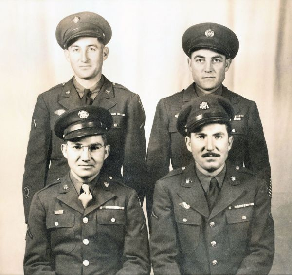 "<span style=""color: #000000;""><em><strong>THE FOUR SIELER BROTHERS WHO PROUDLY SERVED DURING WW2 [Back row] Simon and Edward Jr. [Front row] Benjamin and Tony</strong>"