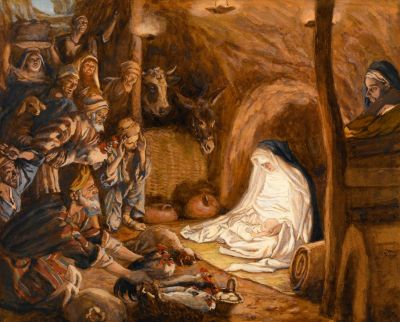 L'adoration des bergers (The Adoration of the Shepherds). By Jacques Joseph Tissot (1836-1902).