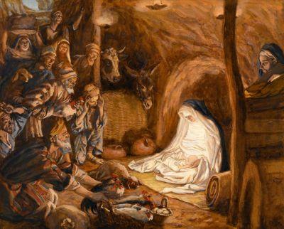 L'adoration des bergers (The Adoration of the Shepherds). By Jacques Joseph Tissot (1836-1902).