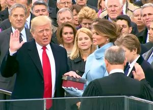 Donald J. Trump taking the Oath of Office.