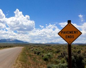 Pavement Ends: Three Creek Road near Murphy's Hot Springs, Idaho.