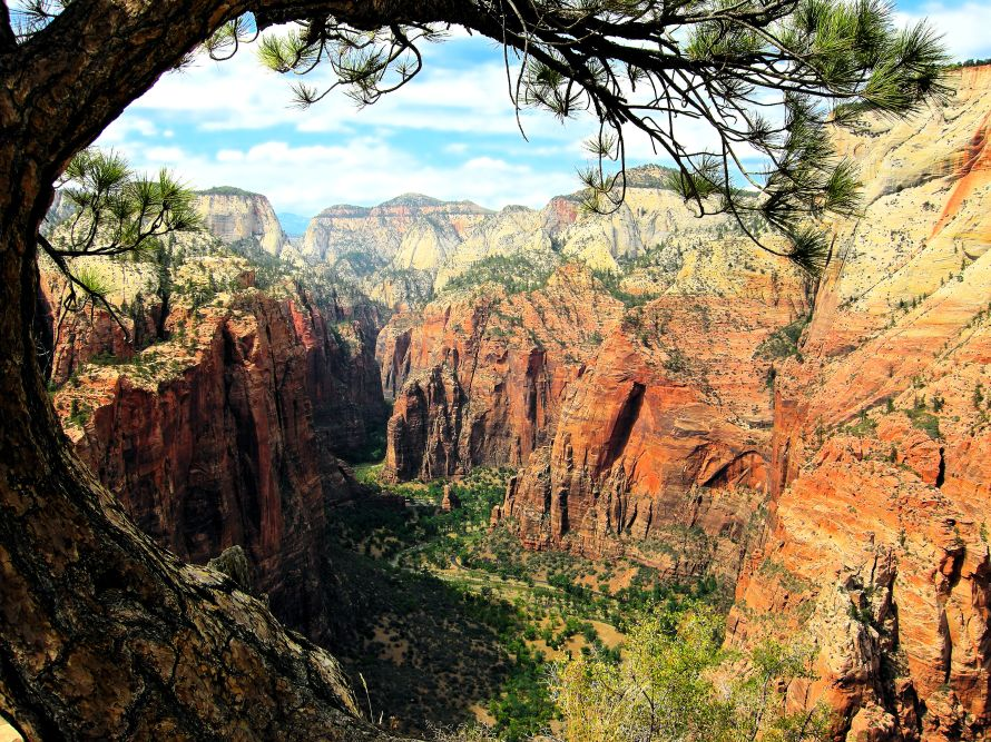 Angels Landing trail looking northward to the Narrows, Zion National Park, Utah, USA.