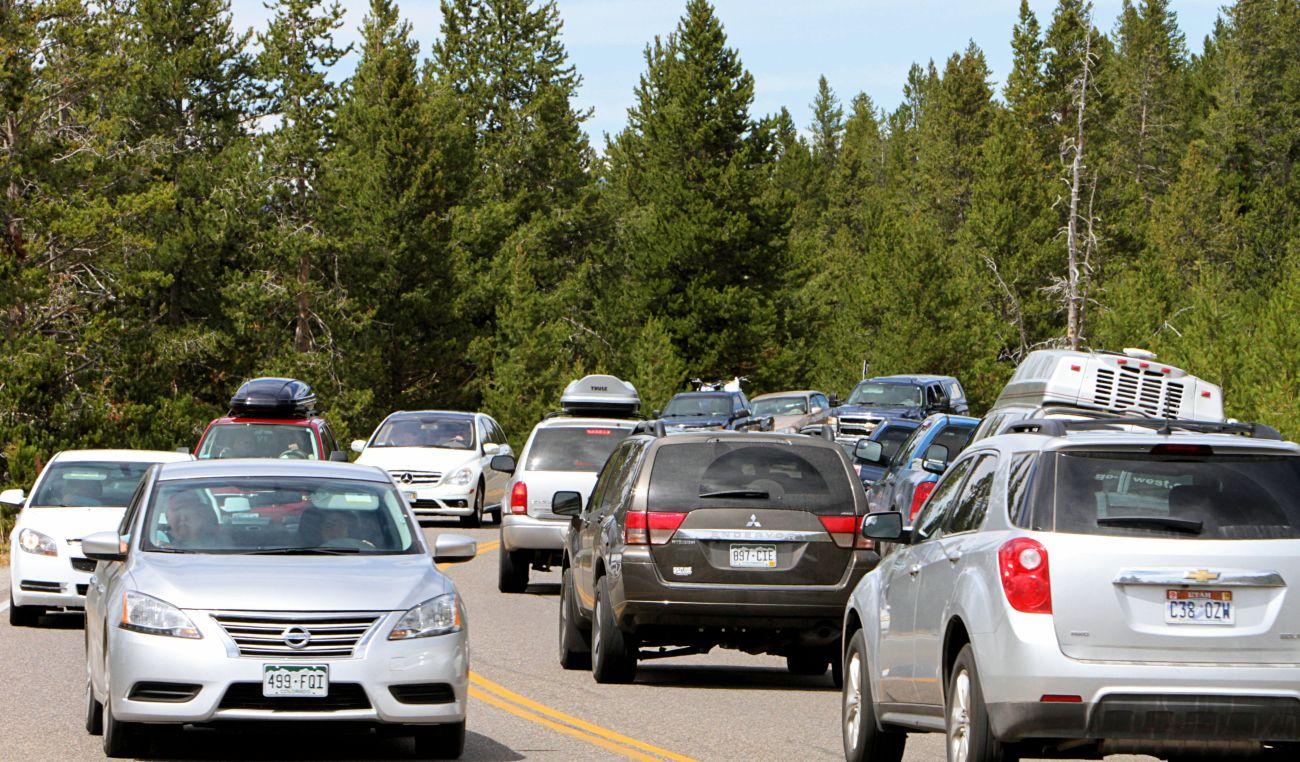 Traffic near Midway Geyser Basin, Yellowstone National Park.