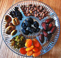 Dried fruit and nuts platter traditionally served on Tu B'Shevat.