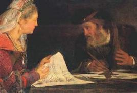 4_Esther and Mordechai writing the second letter of Purim_detail