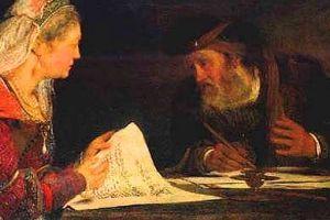 Detail: Esther and Mordechai confer.