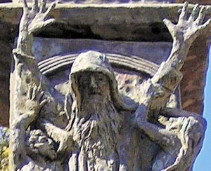 "Detail of the Knesset Menorah: ""Moses Prevails Over the Amalekites,"" as in Exodus 17:8-16)."