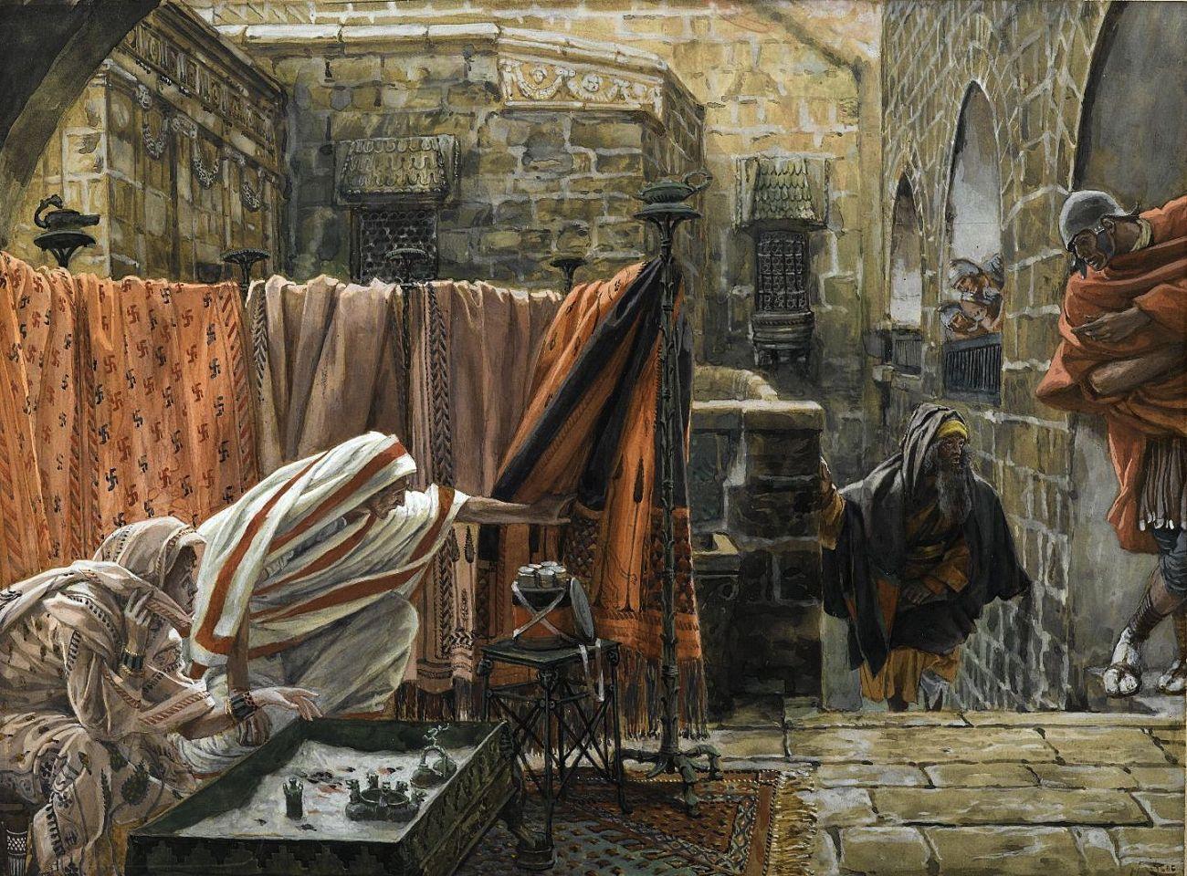 Joseph d'Arimathie va trouver Pilate pour lui demander la permission d'enlever le corps de Jésus (Joseph of Arimathaea Seeks Pilate to Beg Permission to Remove the Body of Jesus.