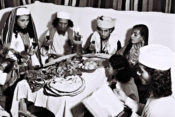 A Yemenite Habani family celebrating Passover in their new home in Tel Aviv, April 1, 1946