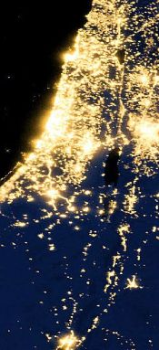 Nighttime view of Israel from space.
